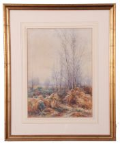 H Withared (British 19th Century), Autumnal woodland, watercolour, signed, 10 x 14ins