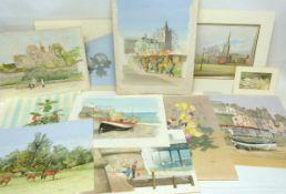 John Hunt (British 20th Century) A portfolio of loose artworks, some mounted (25), pencil,