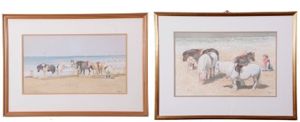 John Hunt (British 20th Century), Beach Ponies, Hunstanton (x2), pencil, watercolour, signed, 9 x