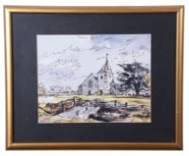 British 20th Century, A study of an unidentified church with a footbridge in the foreground, pen,