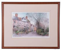 Martin Sexton (British 20th Century) 'Early Spring, Cathedral Close, Norwich, signed and inscribed