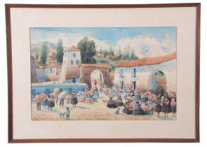 Rosendo Lendio (Peruvian Contemporary), Street scenes in Lima, South America, watercolour, signed,