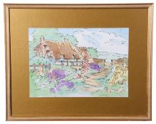 British 20th Century, A study of an English thatched cottage and garden , pen, watercolour,
