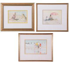 John Hunt (British 20th Century), Various beach scenes (x3), pencil, watercolour, signed, 4 x
