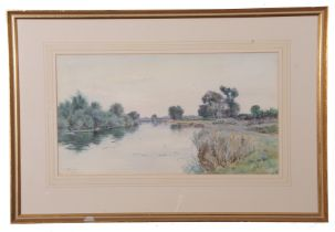 Robert Winter Fraser (British 19th Century), 'Old Windsor Weir.', watercolour, signed, 11 x 19.5ins