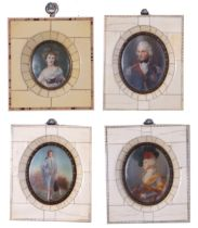 A collection of portrait miniatures set in bone/Ivory frames, late 19th/early 20th Century, (x4),