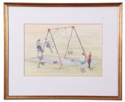 John Hunt (British 20th Century), Children playing, pencil, watercolour, signed, 7 x 10ins