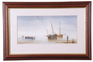 R. Horne (British 20th Century), Fisherfolk packing up at low tide, watercolour, signed, 6 x 14ins