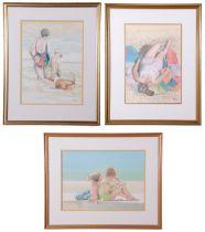 John Hunt (British 20th Century), The Bathers (x3), pencil, watercolour, signed, 10 x 14ins, 11 x