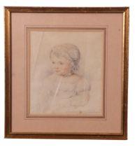 W Fallon (British 19th Century), Portrait of a child, pencil, signed, 1859, 7 x 8.5ins