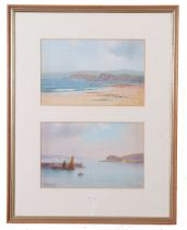 Herbert William Hicks (20th Century) Devon Coast and the Exe Estuary, watercolour, signed, (2 in one