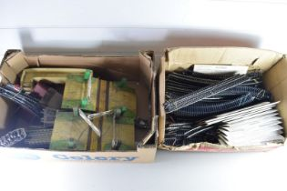 TWO BOXES OF MODEL RAILWAY TRACK, LEVEL CROSSINGS ETC