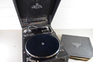 VINTAGE SALON DECCA PORTABLE RECORD PLAYER AND ALBUM OF RECORDS