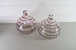 PAIR OF MURANO GLASS VASES WITH SWIRL DECORATION