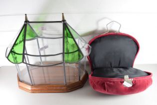 LEAD GLAZED TERRARIUM TOGETHER WITH A RED UPHOLSTERED TRAVEL CASE