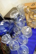 COLLECTION OF MIXED CLEAR GLASS VASES, SUNDAE DISHES ETC
