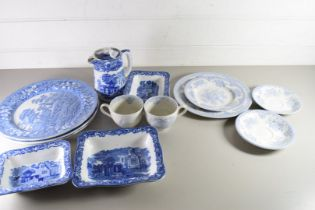 MIXED LOT OF BLUE AND WHITE CHINA TO INCLUDE COPELAND SPODE TOWER PATTERN, GEORGE JONES ABBEY