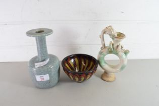 CHINESE CRACKLE GLAZED STEM VASE TOGETHER WITH A FURTHER STUDIO POTTERY BOWL AND A FURTHER PUZZLE