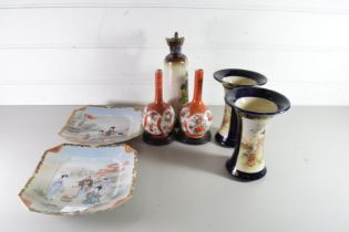 MIXED LOT COMPRISING PAIR OF JAPANESE STEM VASES, PAIR OF JAPANESE SATSUMA TYPE VASES AND A PAIR