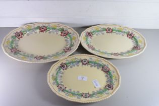 GRADUATED SET OF THREE ROYAL DOULTON OVAL FLORAL PATTERN MEAT PLATES