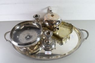SILVER PLATED OVAL SERVING TRAY TOGETHER WITH SILVER PLATED CANDLESTICKS, TEA POT AND BON-BON DISH