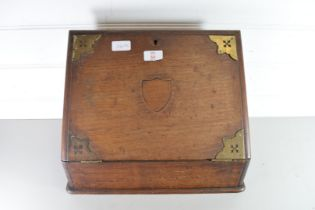 BRASS MOUNTED WEDGE FORMED STATIONERY BOX (FOR RESTORATION)