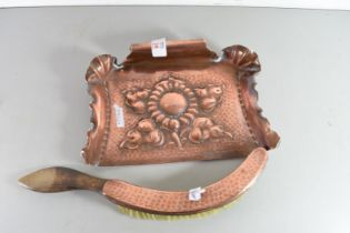 ARTS & CRAFTS COPPER CRUMB TRAY DECORATED WITH CENTRAL FLOWER AND ACCOMPANYING BRUSH