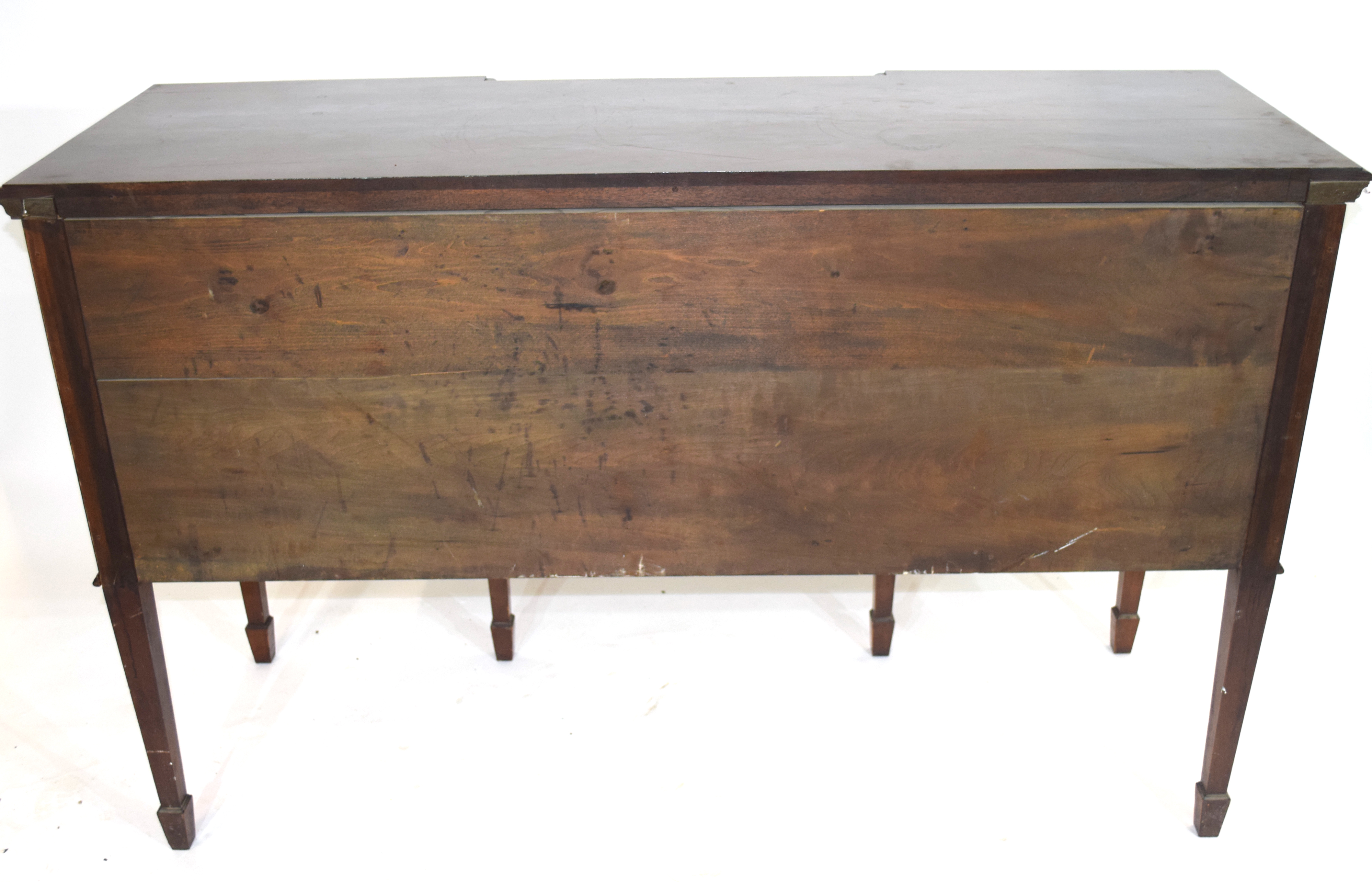 Edwardian mahogany sideboard with three drawers fitted with brass ringlet handles and two panelled - Image 4 of 4