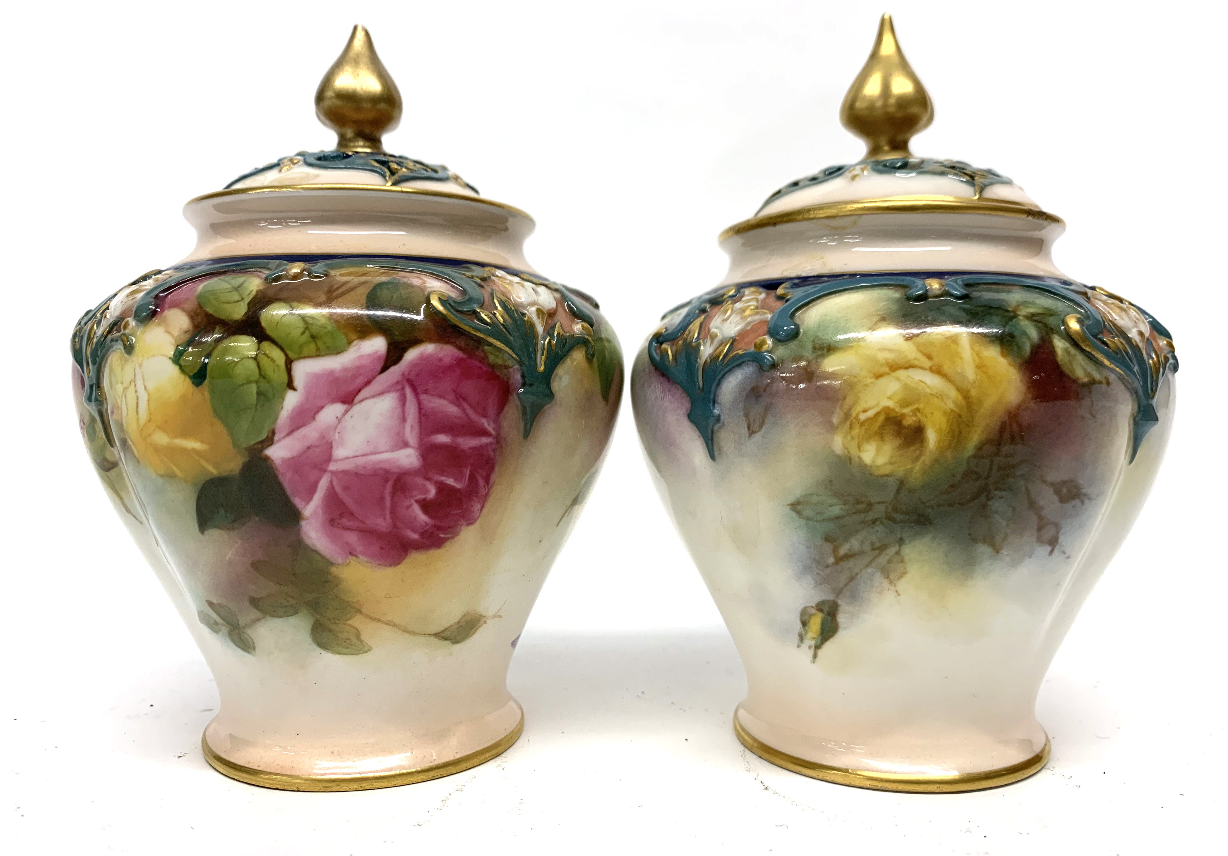 Pair of late 19th century Hadleigh Worcester vases a - Image 2 of 8