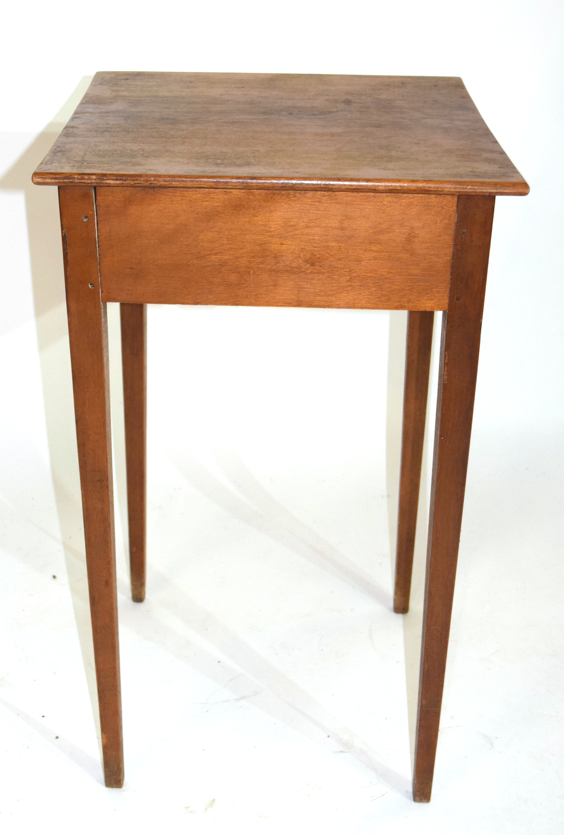 Small square stained table with drawer 70cm in height Condition: Structurally sound but requires - Image 4 of 4