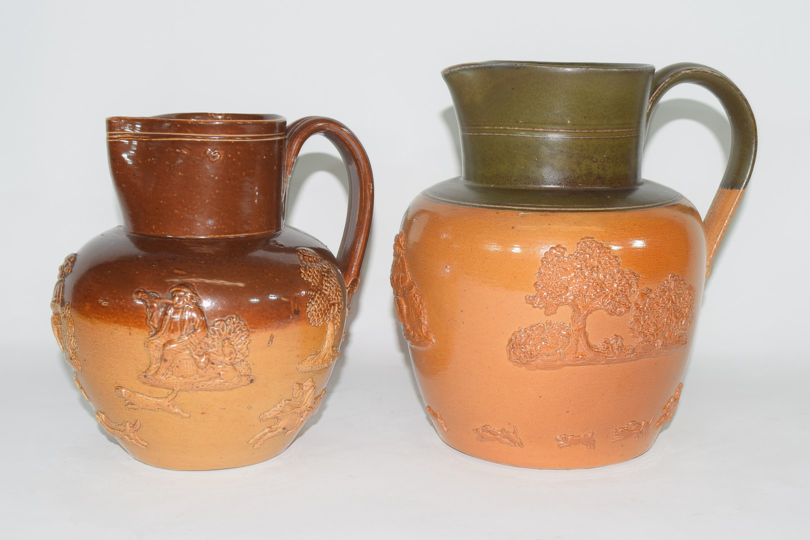 Doulton Lambeth brown harvest ware jug and one other