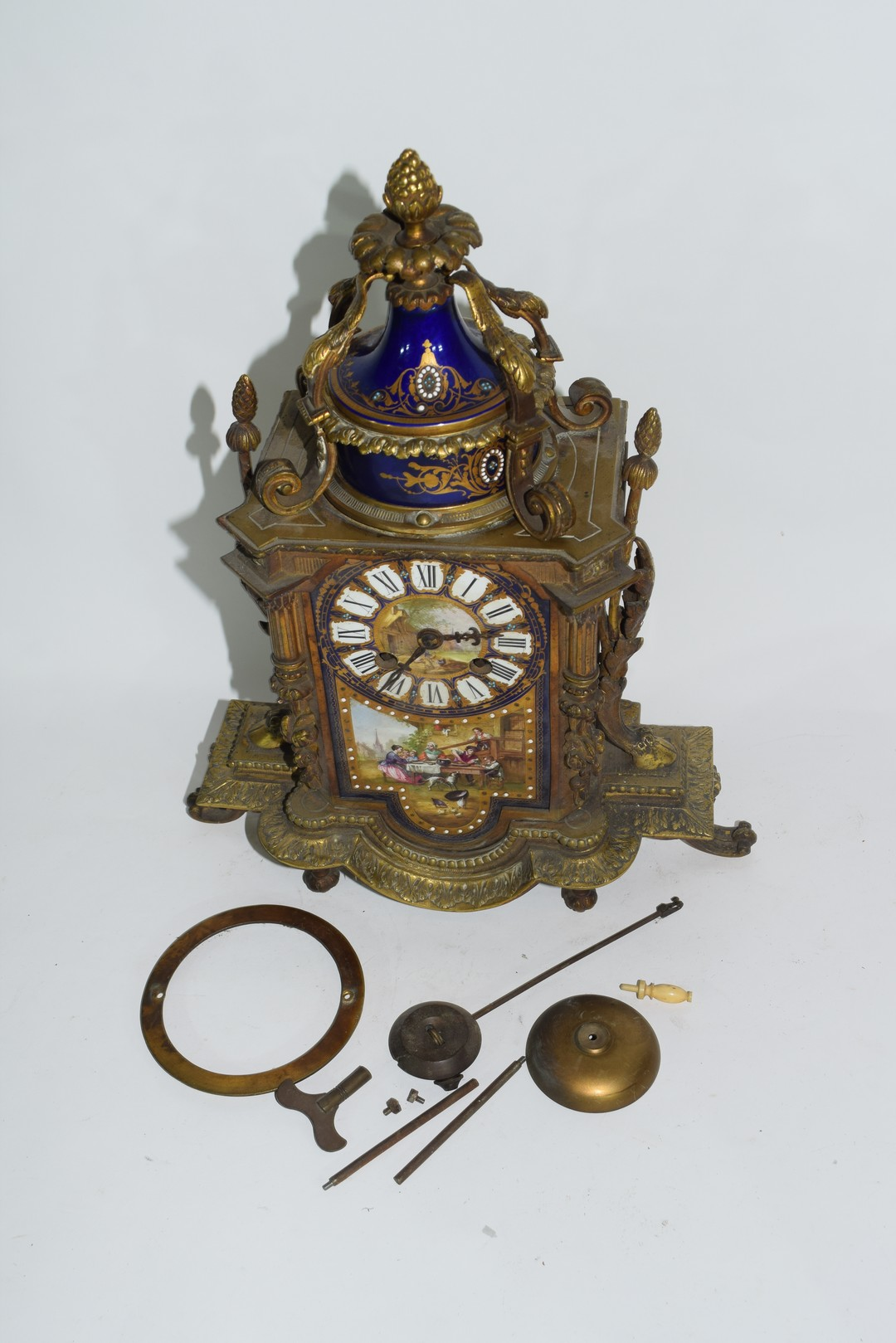 19th century French gilt metal clock with Sevres type porcelain panels - Image 2 of 5