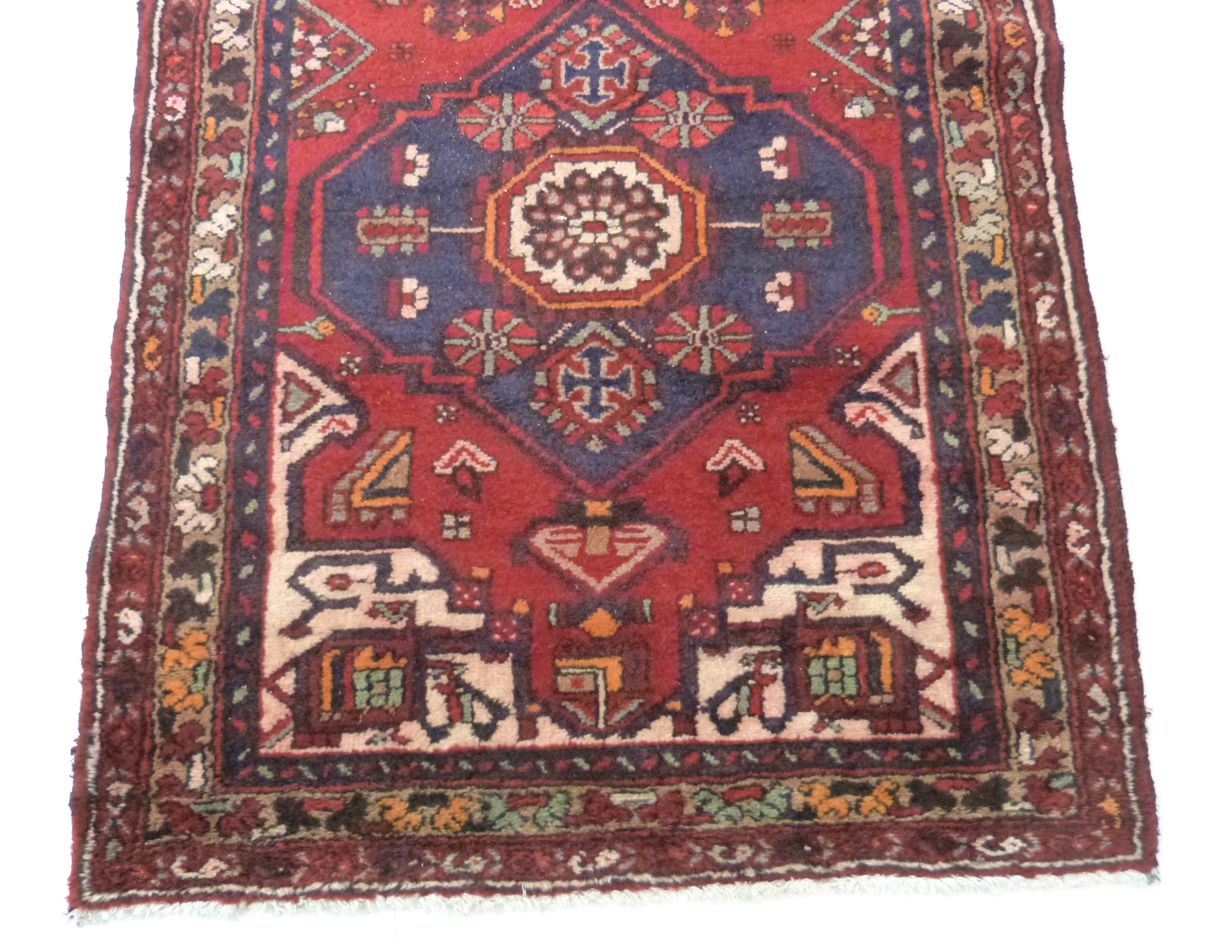 Rich red ground full pile Persian Hamadan Runner 286cm x 110cm approximately - Image 2 of 6