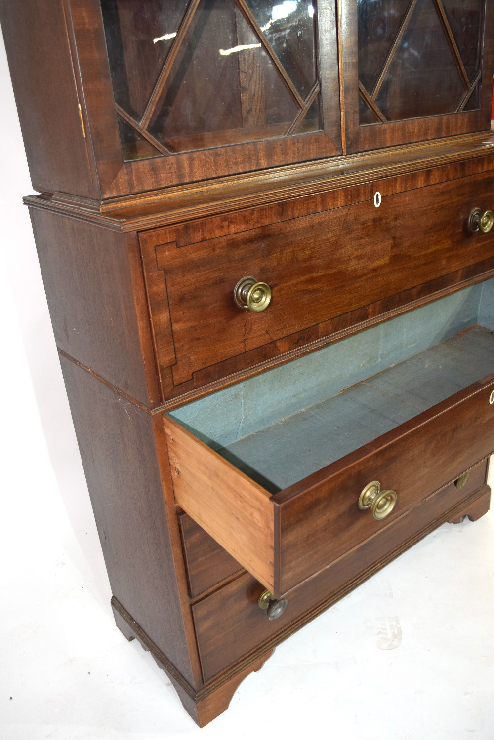 Georgian mahogany secretaire cabinet, top section with a shaped cornice over astragal glazed doors - Image 5 of 6