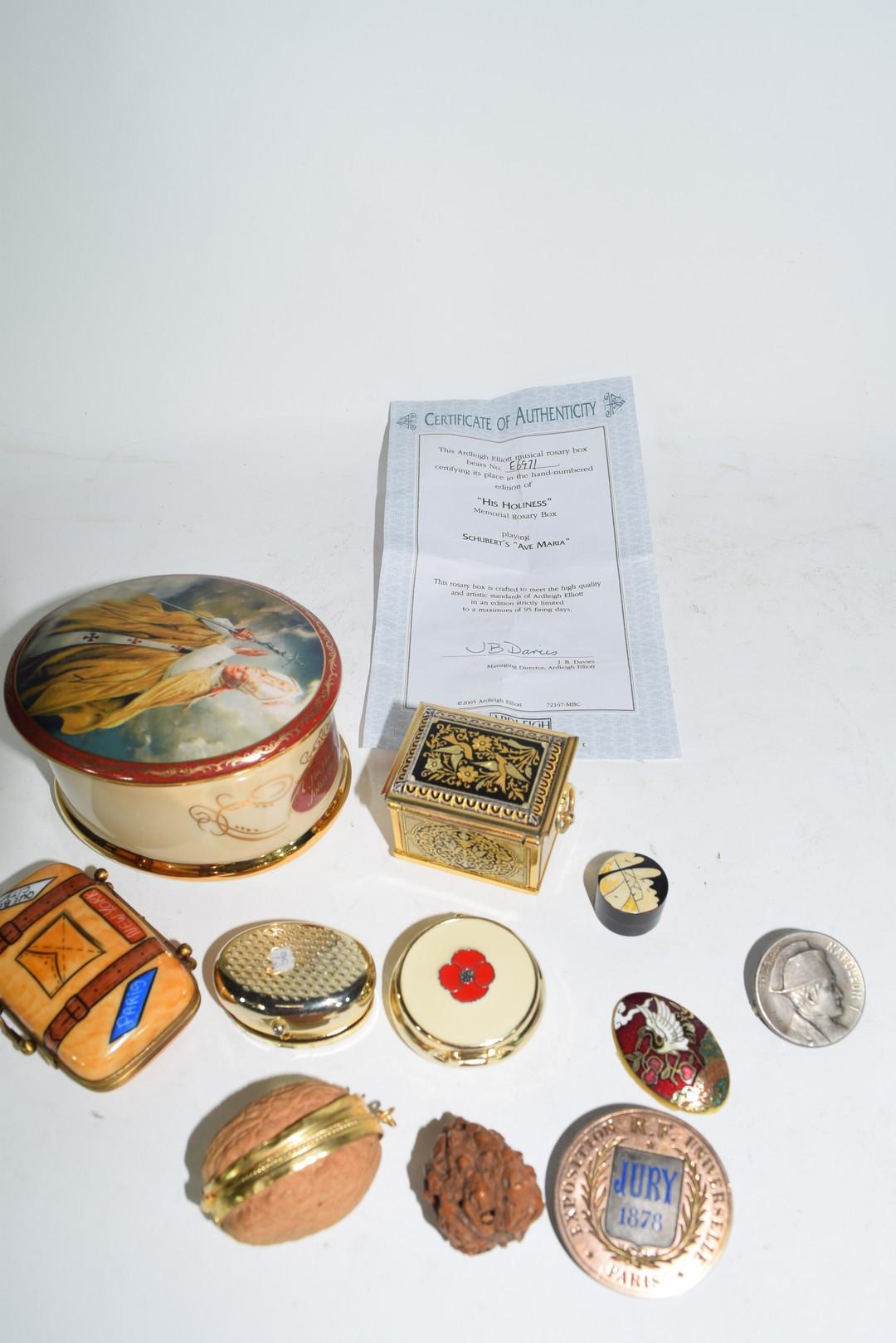 Ralph W Cowan memorial porcelain rosary box etc