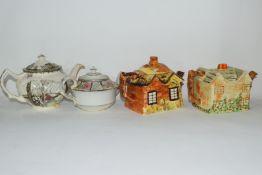 Group of mid-20th century cottage style tea pots