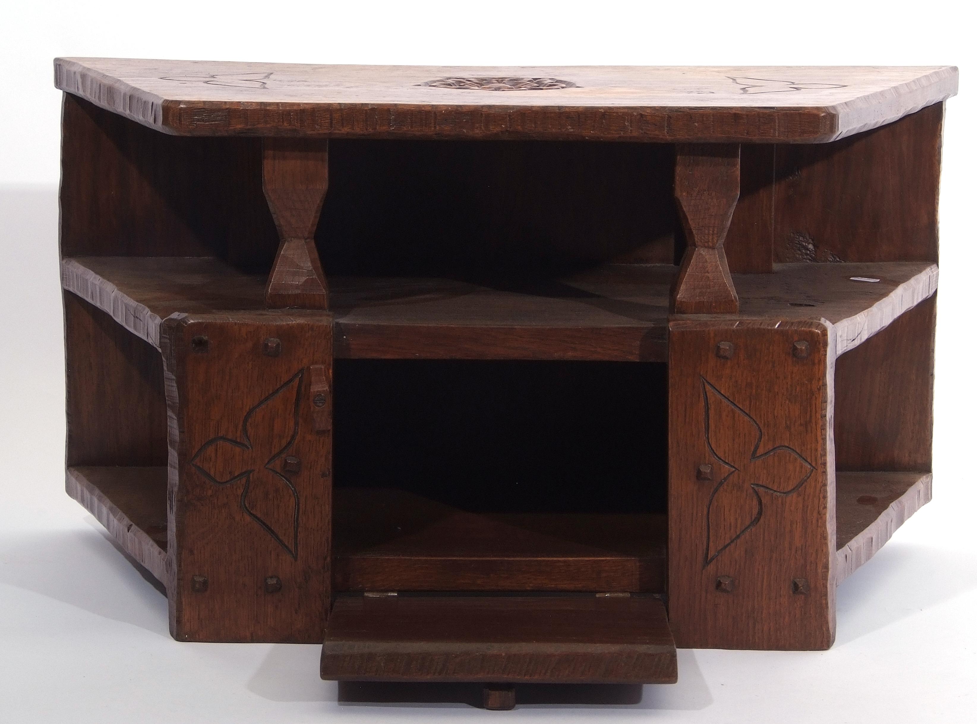 Jack Grimble of Cromer, a small oak losenge shaped side table with carved Tudor Rose detail 76cm - Image 7 of 10
