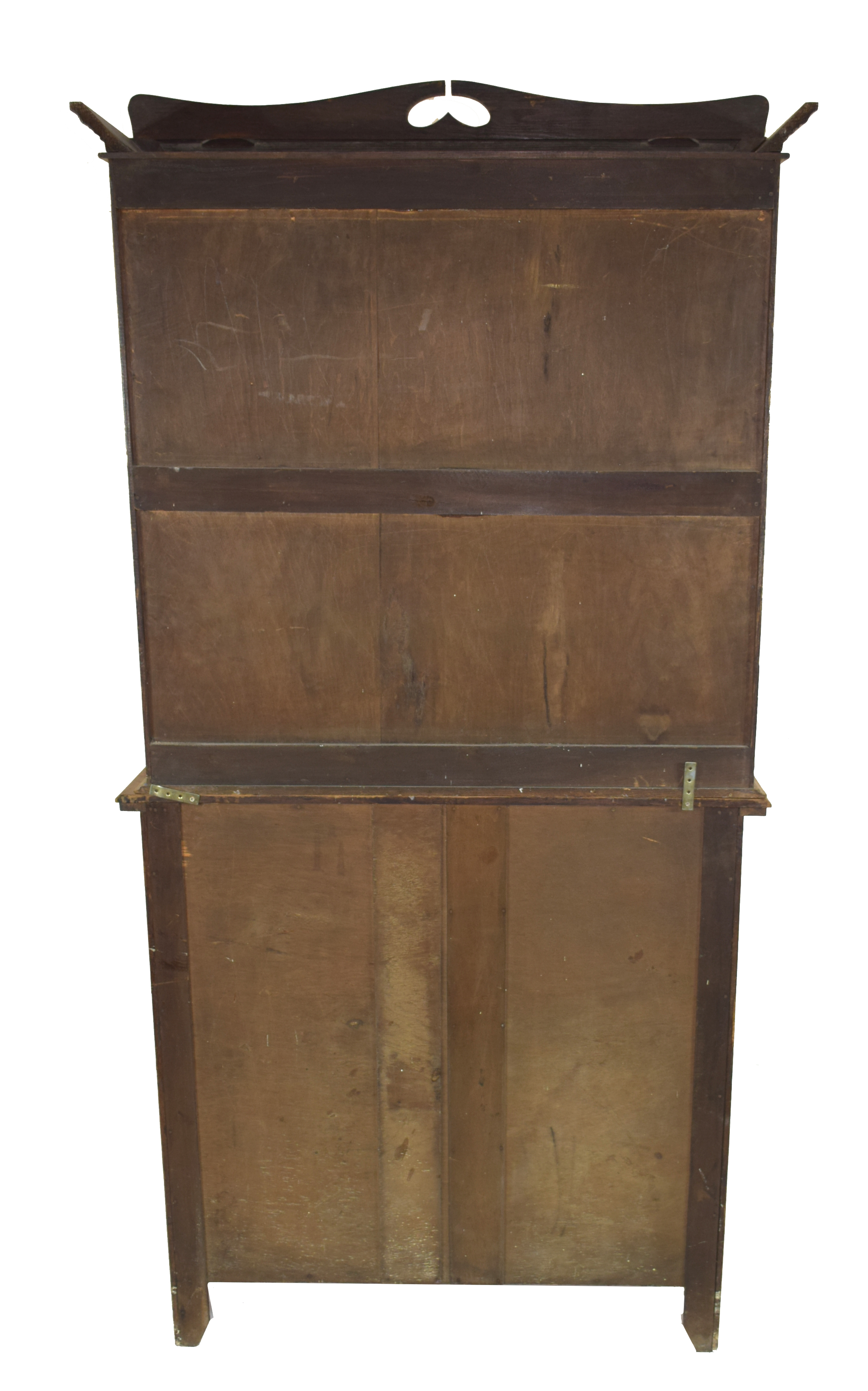 Late 19th century light oak two-piece cabinet, the top section with double glazed doors with Art - Image 7 of 7