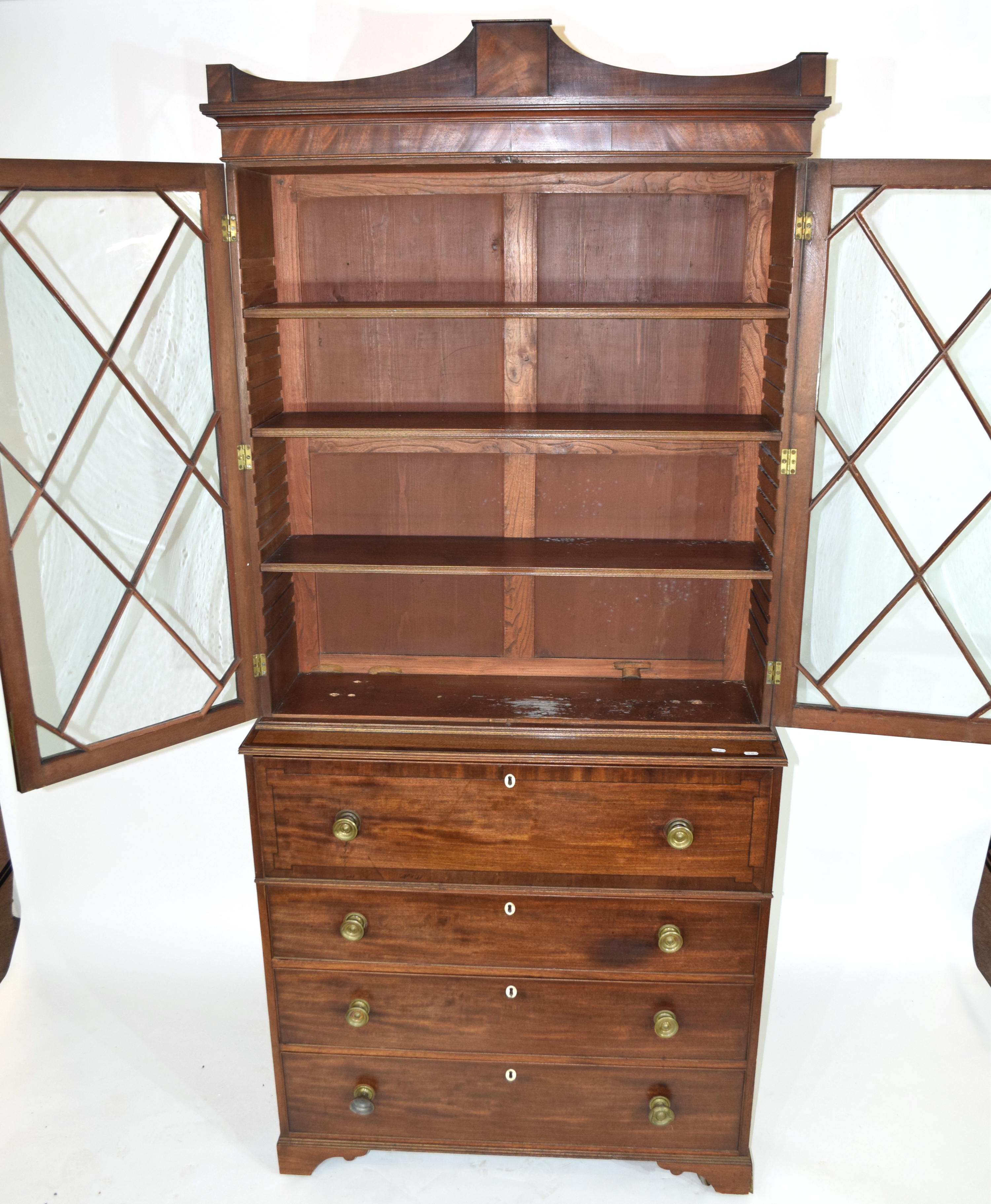 Georgian mahogany secretaire cabinet, top section with a shaped cornice over astragal glazed doors - Image 2 of 6