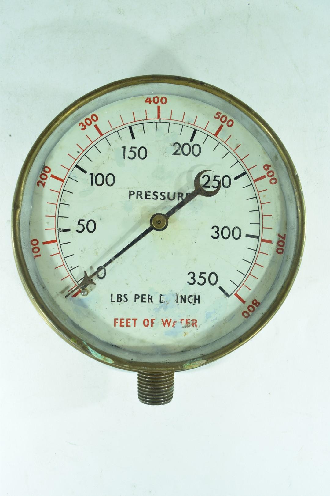 Vintage brass cased pressure gauge