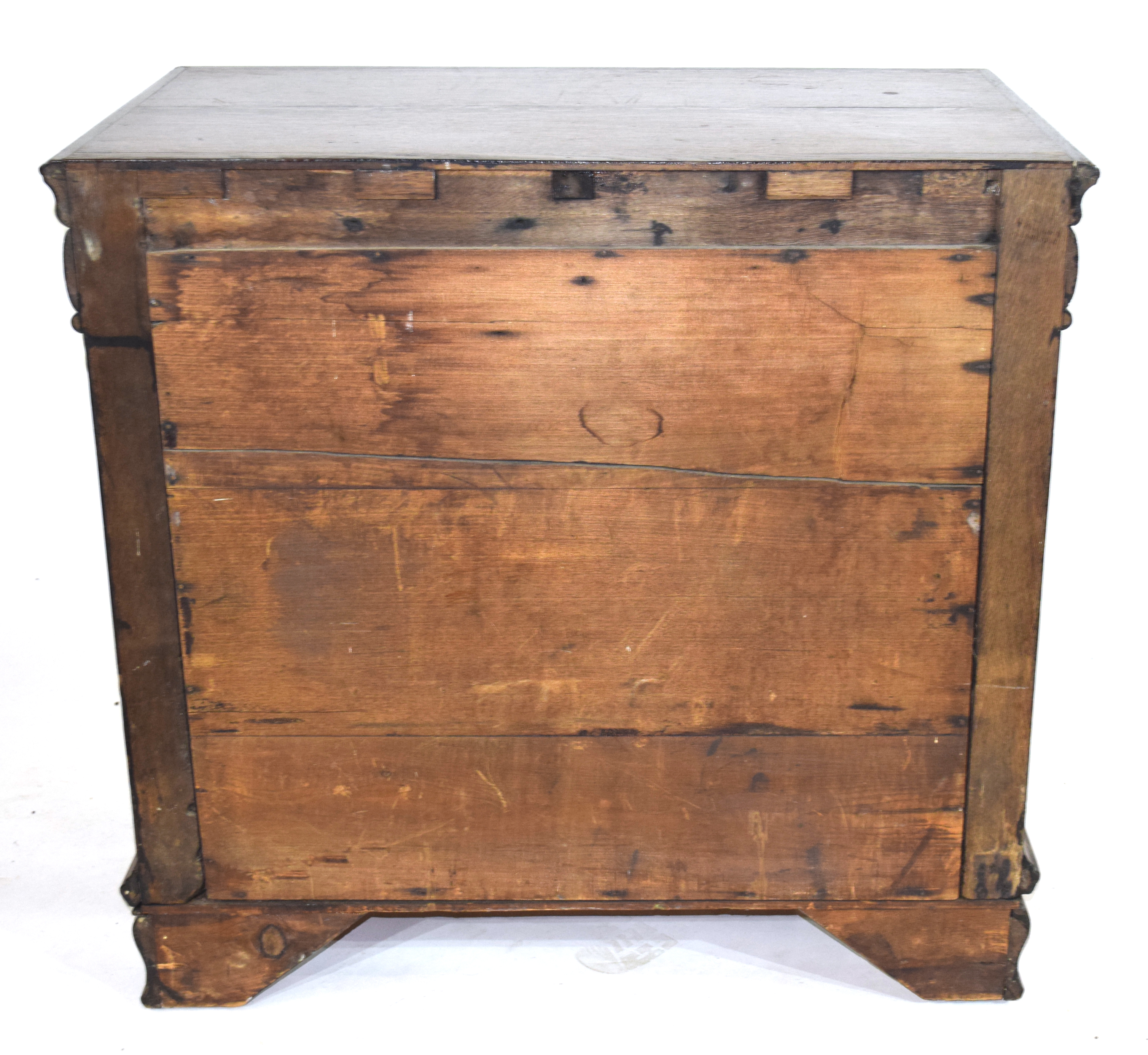 17th century and later oak chest of four drawers, decorated with mitred detail and set with panelled - Image 3 of 4