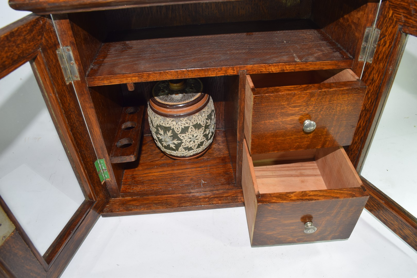 Late 19th century oak smokers cabinet - Image 5 of 5