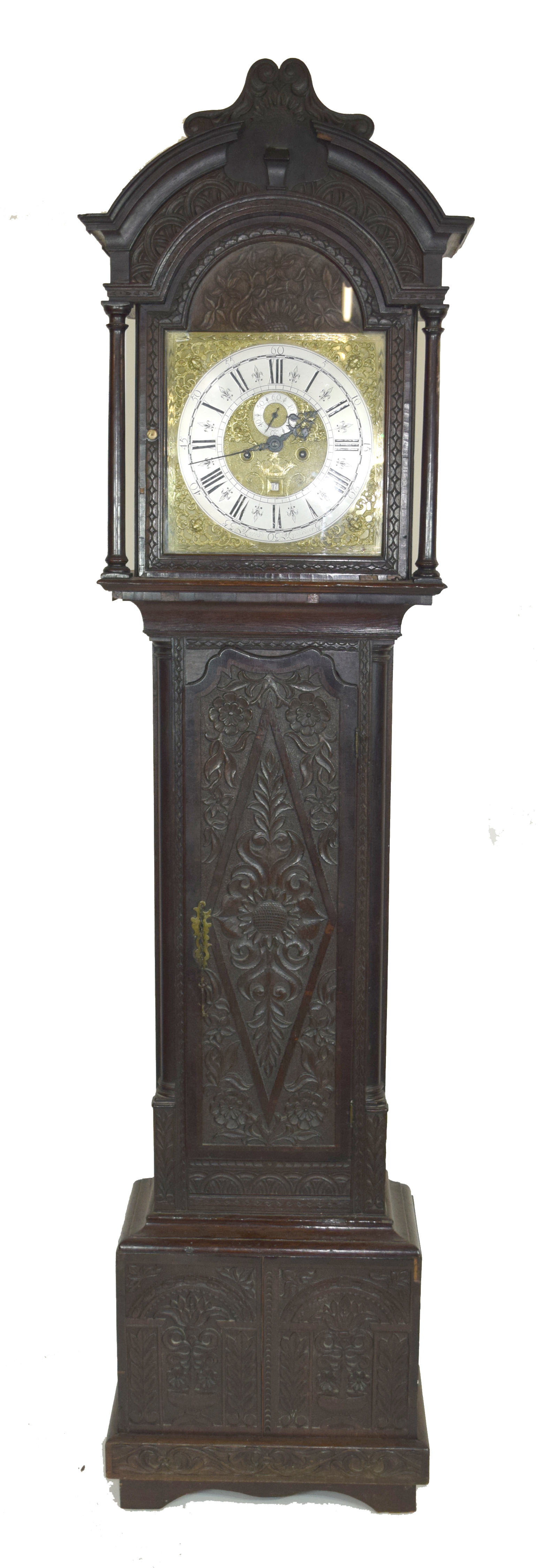 Ornately carved longcase clock, with gilt dial mounted with Roman chapter ring, subsidiary minutes