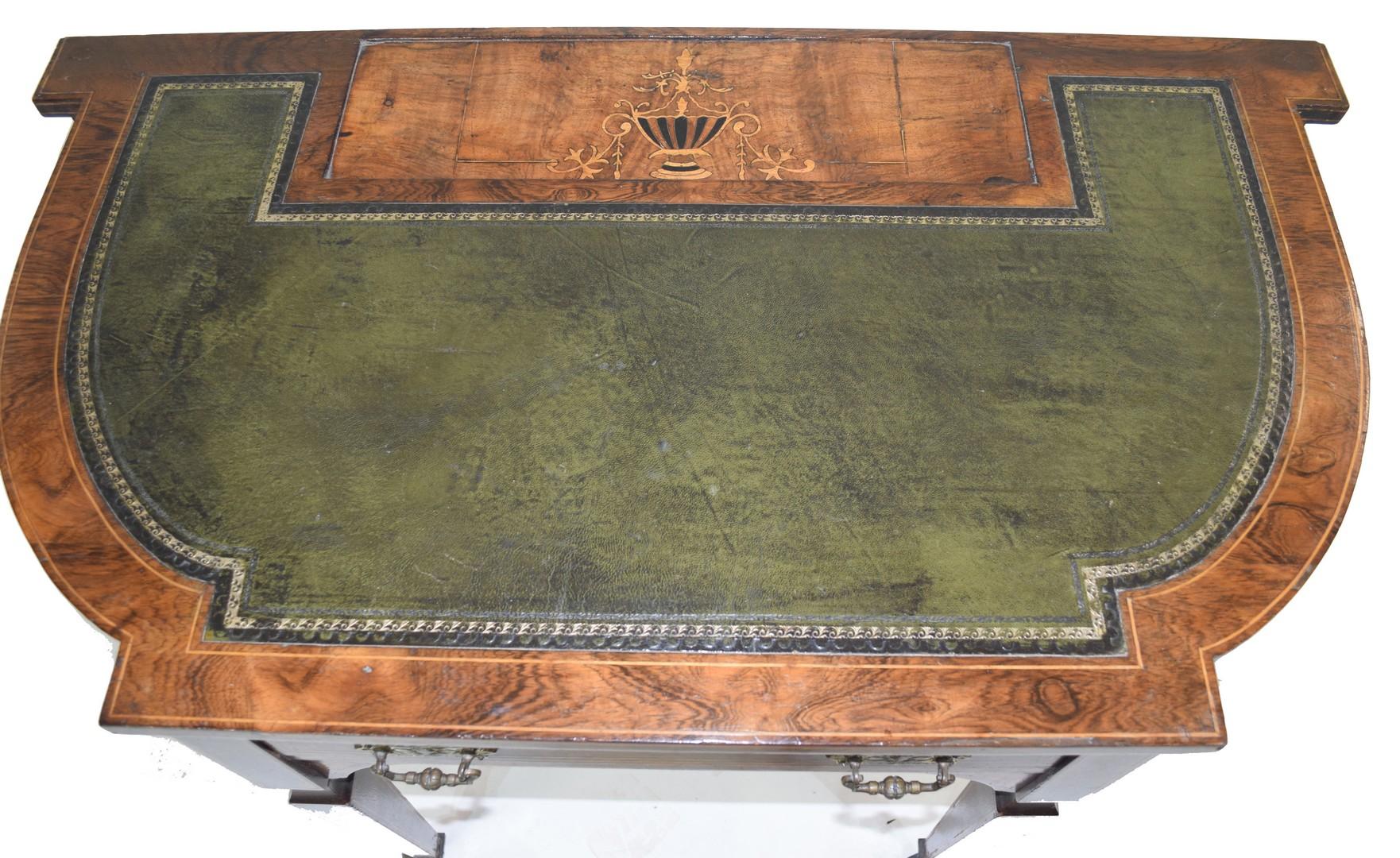 Late 19th century walnut veneered writing desk - Image 7 of 8