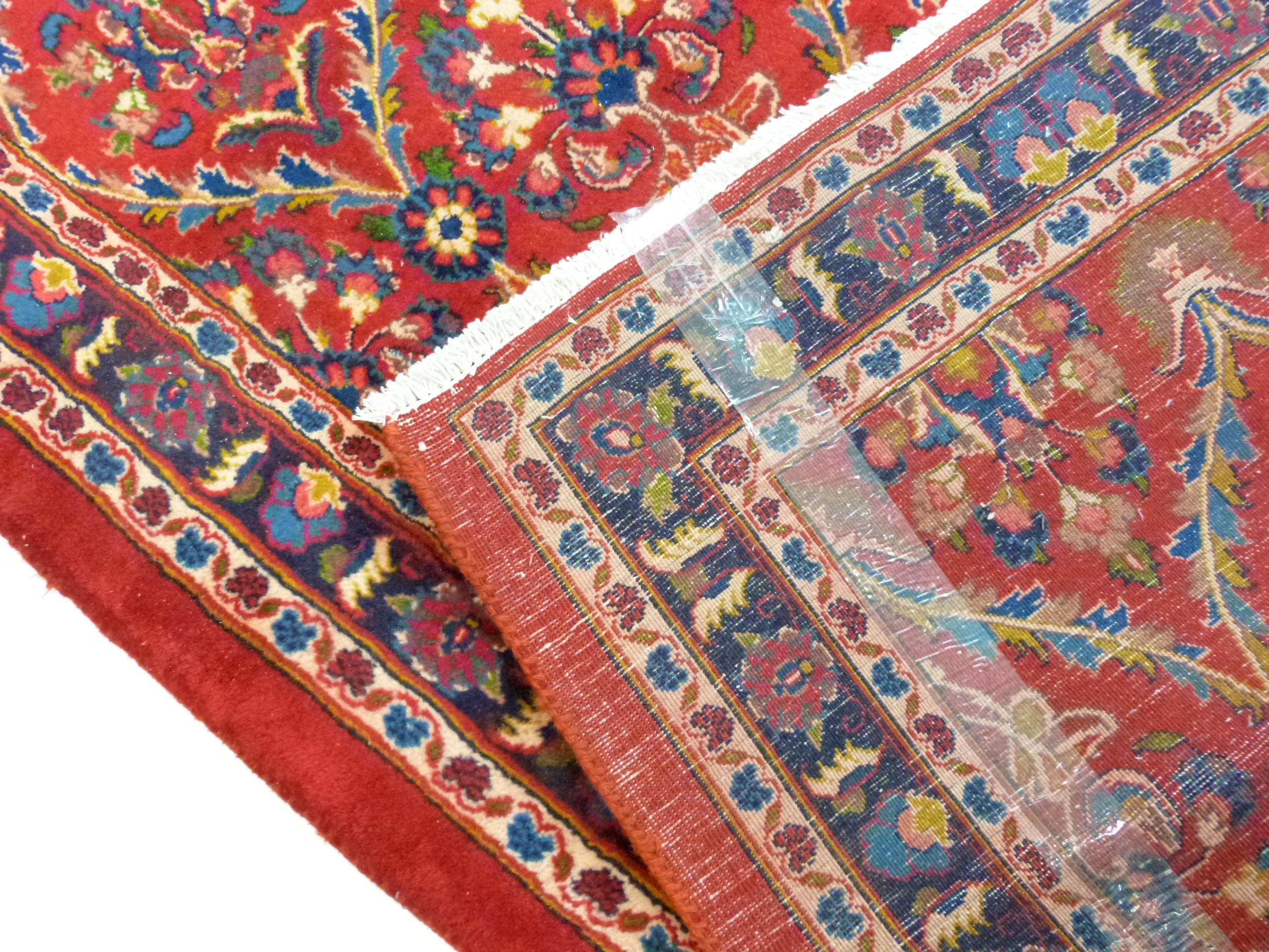 Large red ground Persian Kashan Runner, with all-over floral pattern 397cm x 93cm approximately No - Image 5 of 6