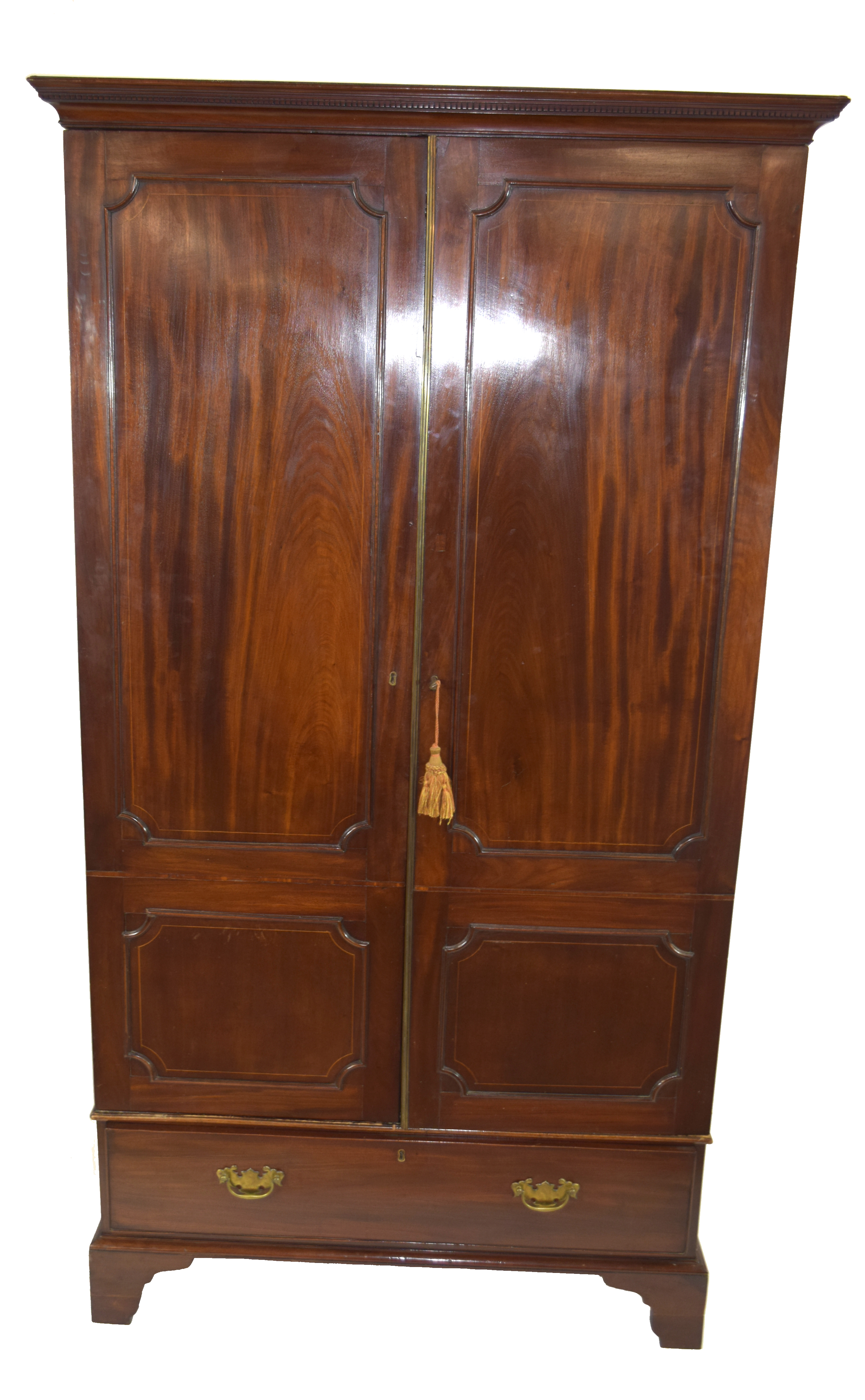 19th century mahogany wardrobe with moulded cornice over two panelled doors and single drawer