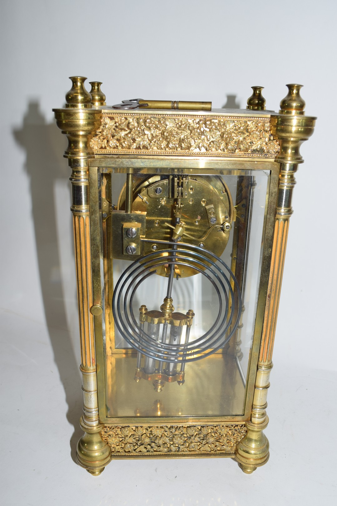 French gilt brass and four glass mounted clock - Image 3 of 5