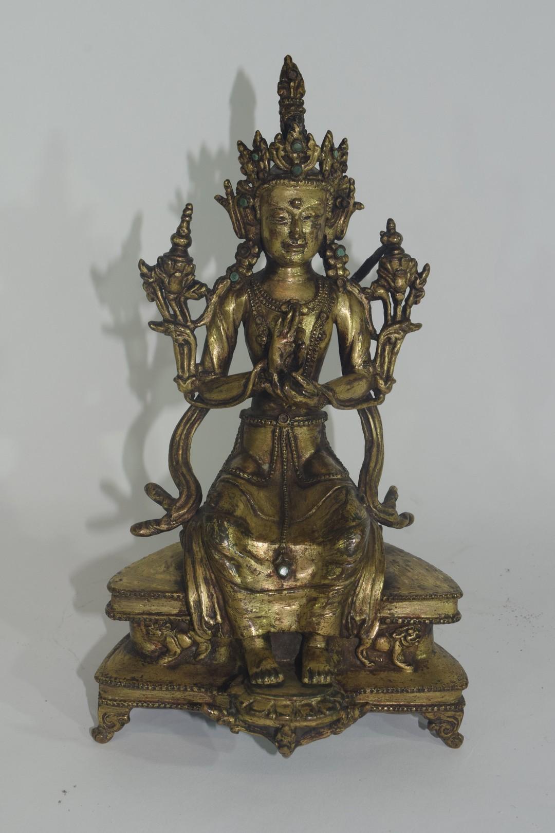 Rare Sino-Tibetan gilt bronze figure of Maitreya - Image 2 of 8