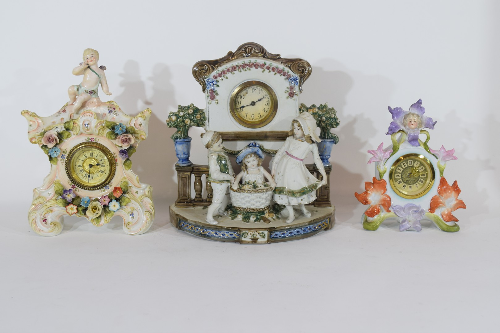 Three examples of Continental porcelain clock mantel cases - Image 2 of 9