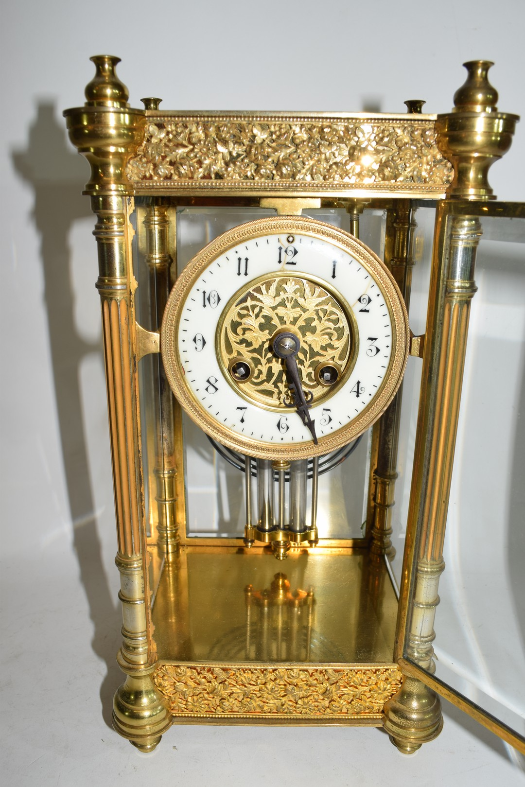 French gilt brass and four glass mounted clock - Image 5 of 5